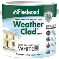 Fleetwood Weather Clad Smooth Masonry Brilliant White Paint - 2.5 Litre